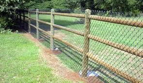 Three Rail Fence With Chain Link Wood Fence Design