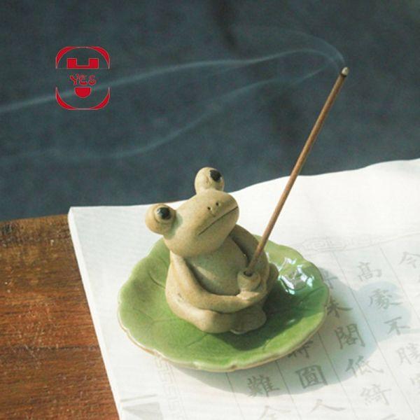 US $14.99  25% Off | Mini Cute Ceramic Zen Frog Sc