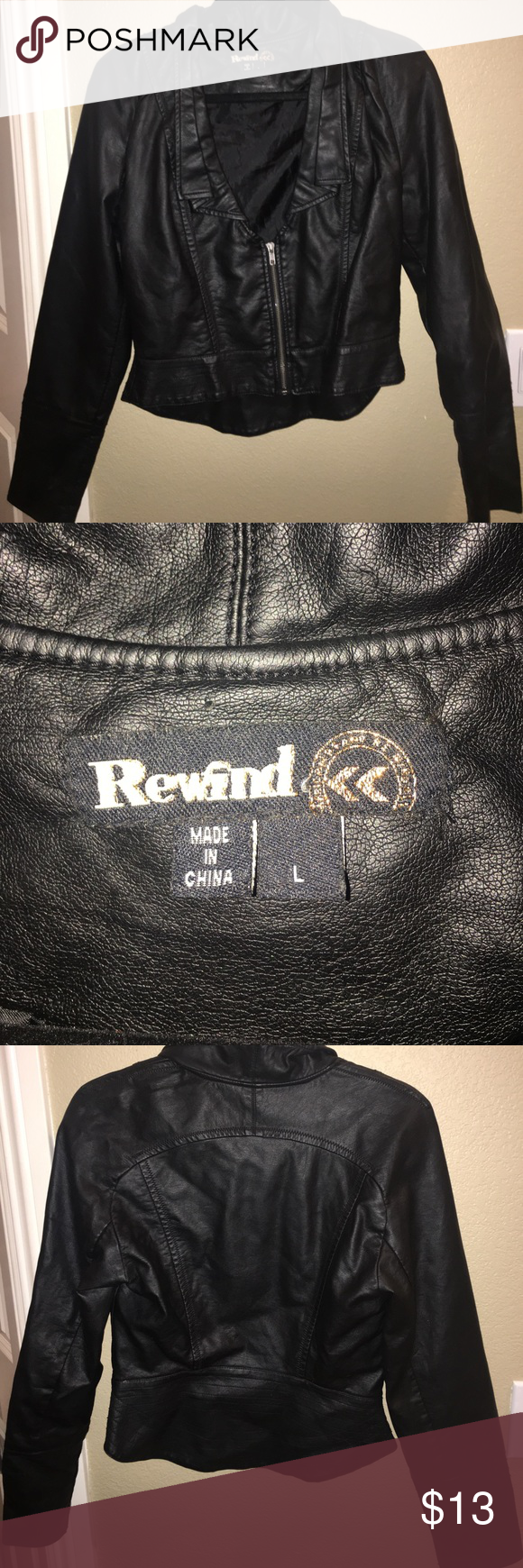 Leather jacket damage - Faux Leather Jacket Black Faux Leather Jacket Cute And Fashionable Excellent Condition No