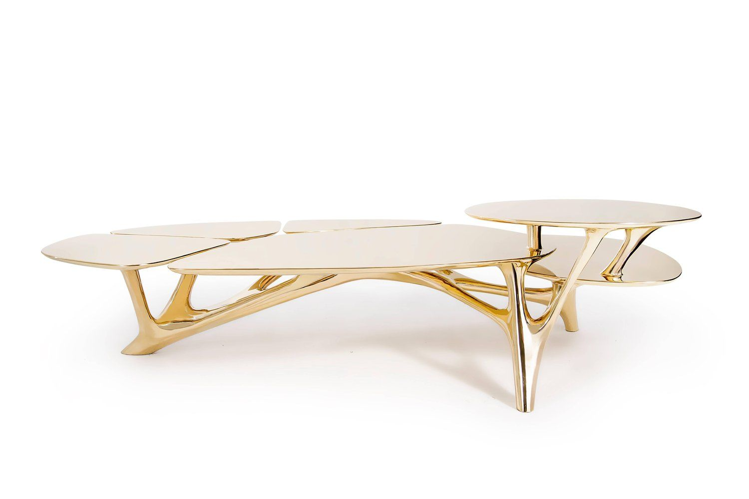 lotus coffee table polished brass by