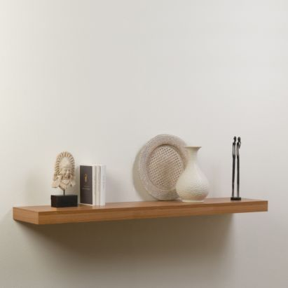 Walnut Effect Floating Shelf (L)1200mm (D)250mm