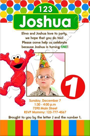 Elmo InvitationElmo baby Sesame Street baby elmo baby big bird