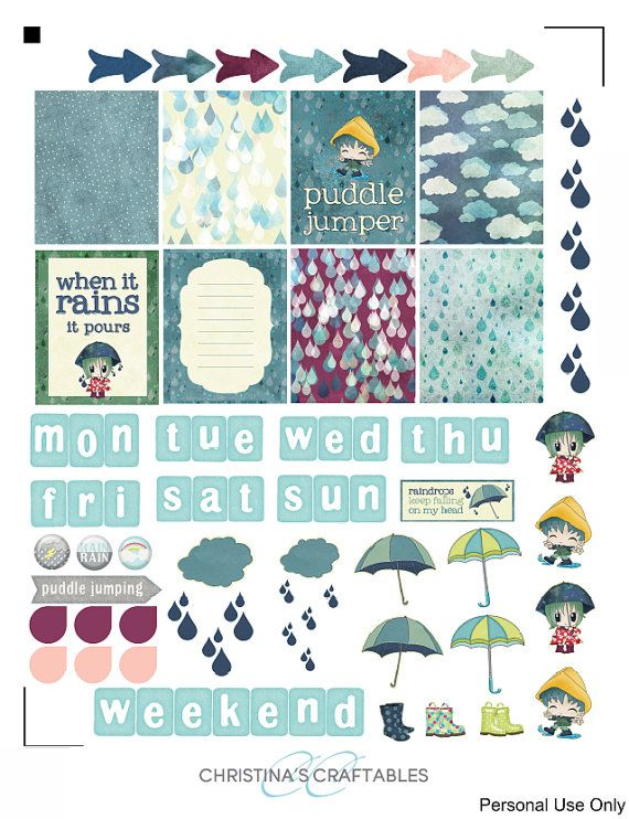 Rainy Day Planner Stickers For Erin By Christinascraftables