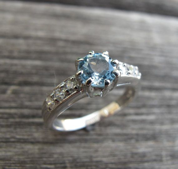 Gorgeous Blue Topaz Ring- Engagement Ring- Promise Ring- Her and His Promise Rings- December Birthstone Ring- Anniversary Ring-Bridal Ring