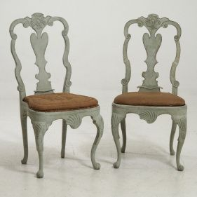 Two fine Scandinavian Rococo chairs, circa 1750-60. Probaly from Norway.
