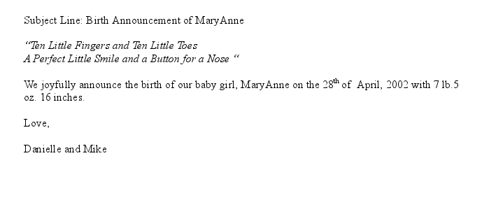 Announcement Email is a sample message sent at the birth of a baby – Baby Arrival Announcement Messages