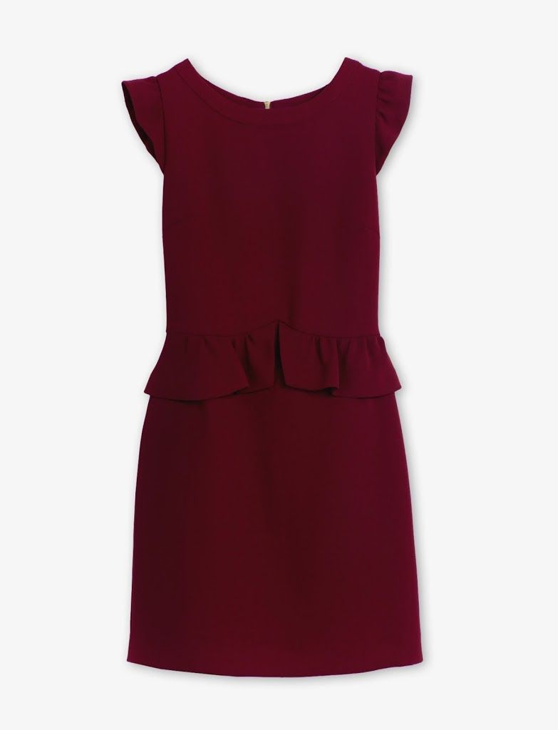 Sandro Robe Resonance Dress Bordeaux Burgandy Peplum Dress Dresses For Work Dresses Peplum Dress