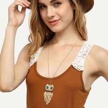 Photo of Golden Leaf Owl Alloy Anhänger Halskette
