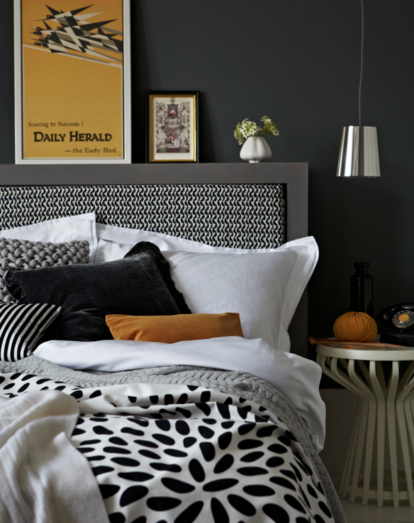 Black, white & yellow bedroom. Styling by Elkie Brown | Photography by Jon Day for Heart Home Magazine