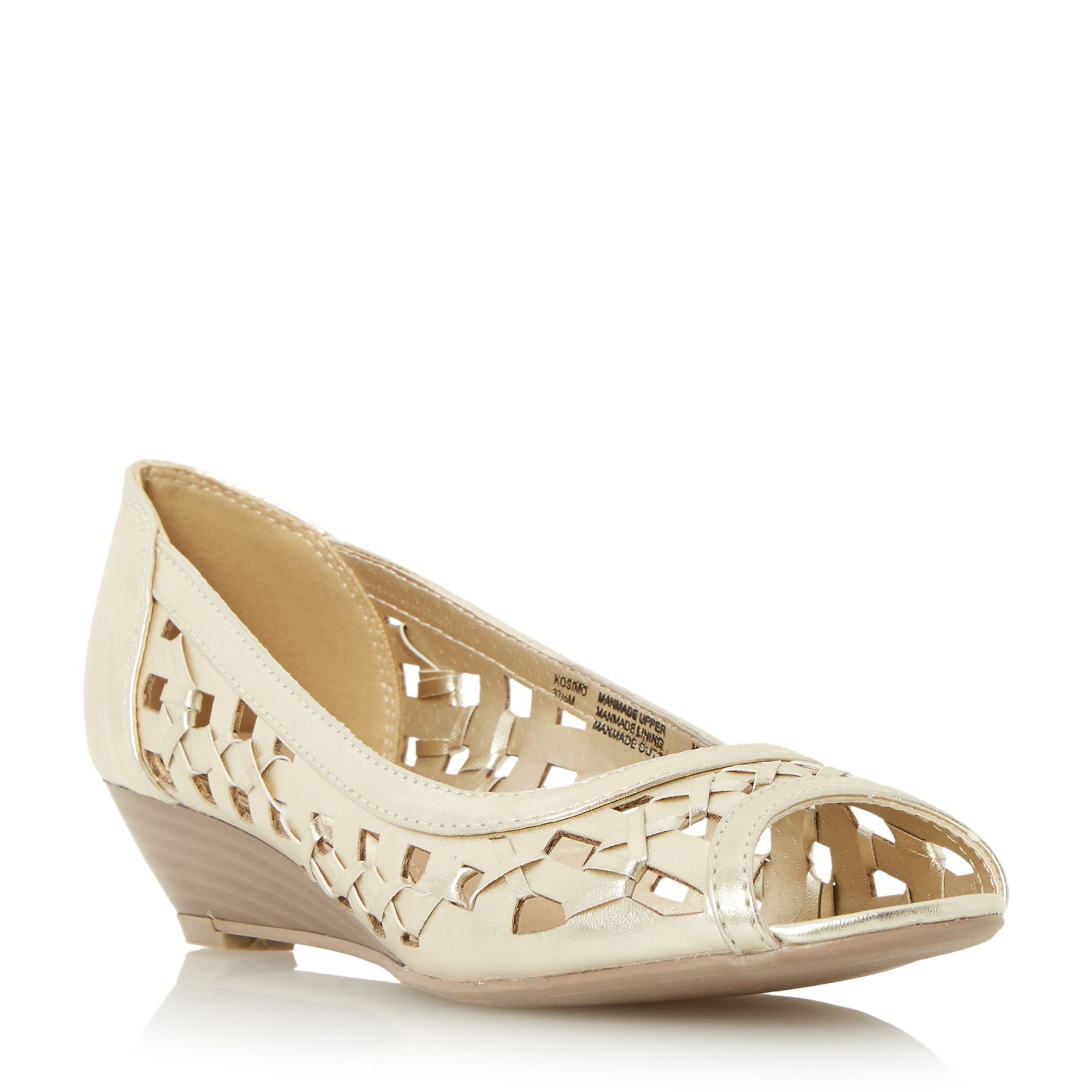 Head Over Heels Kosimo laser cut out wedge sandals, Gold