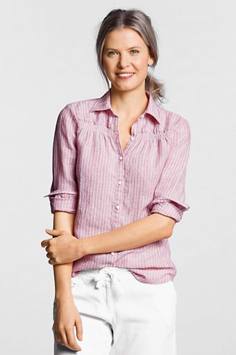 62912dafdfb Women's Long Sleeve Linen Stripe Smocked Shirt from Lands' End ...