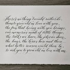 """""""Calligraphy makes an ideal wedding anniversary gift."""""""
