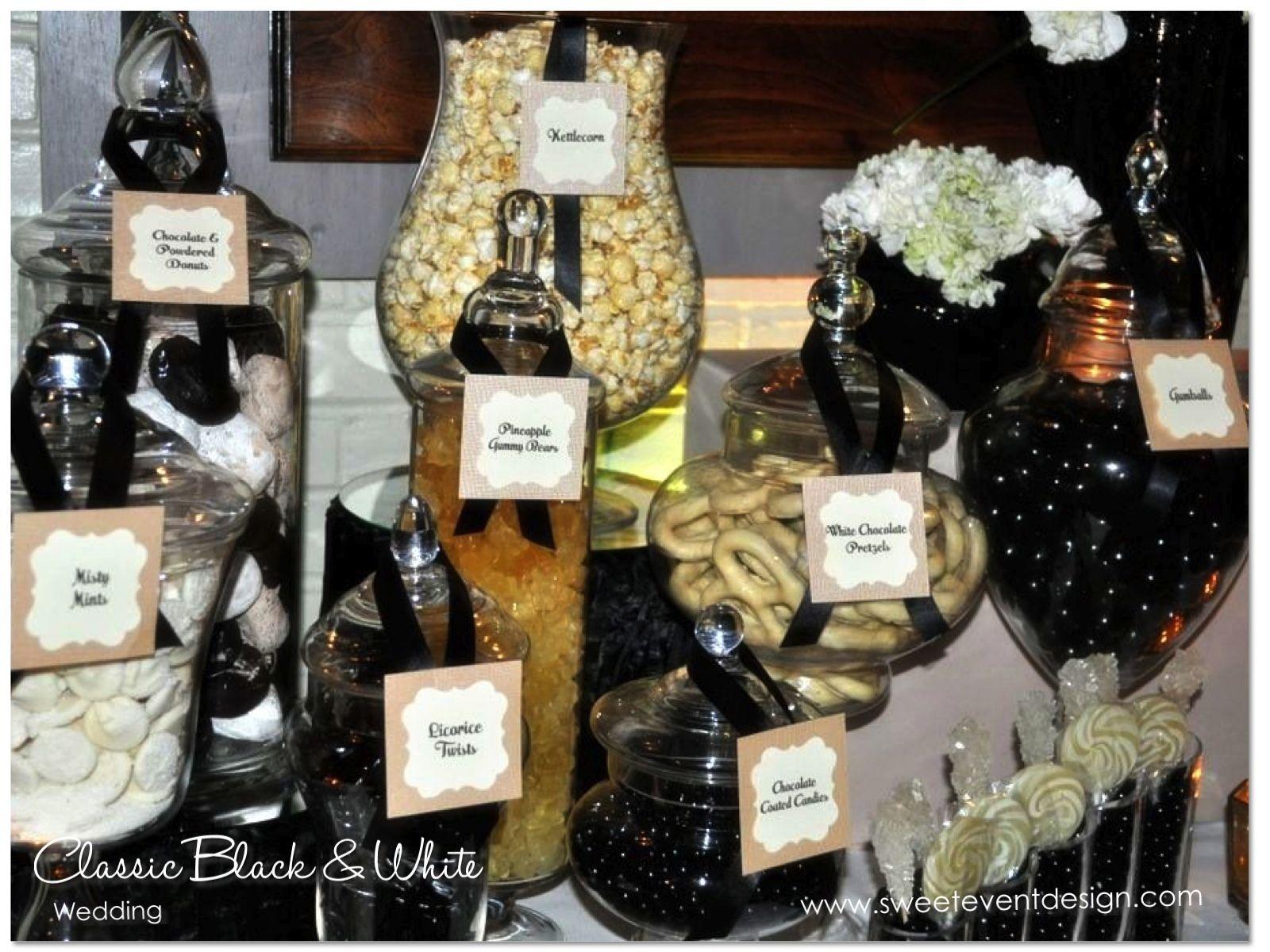 Black and White Wedding Candy Dessert Buffet www.sweeteventdesign    wedding ideas and inspiration