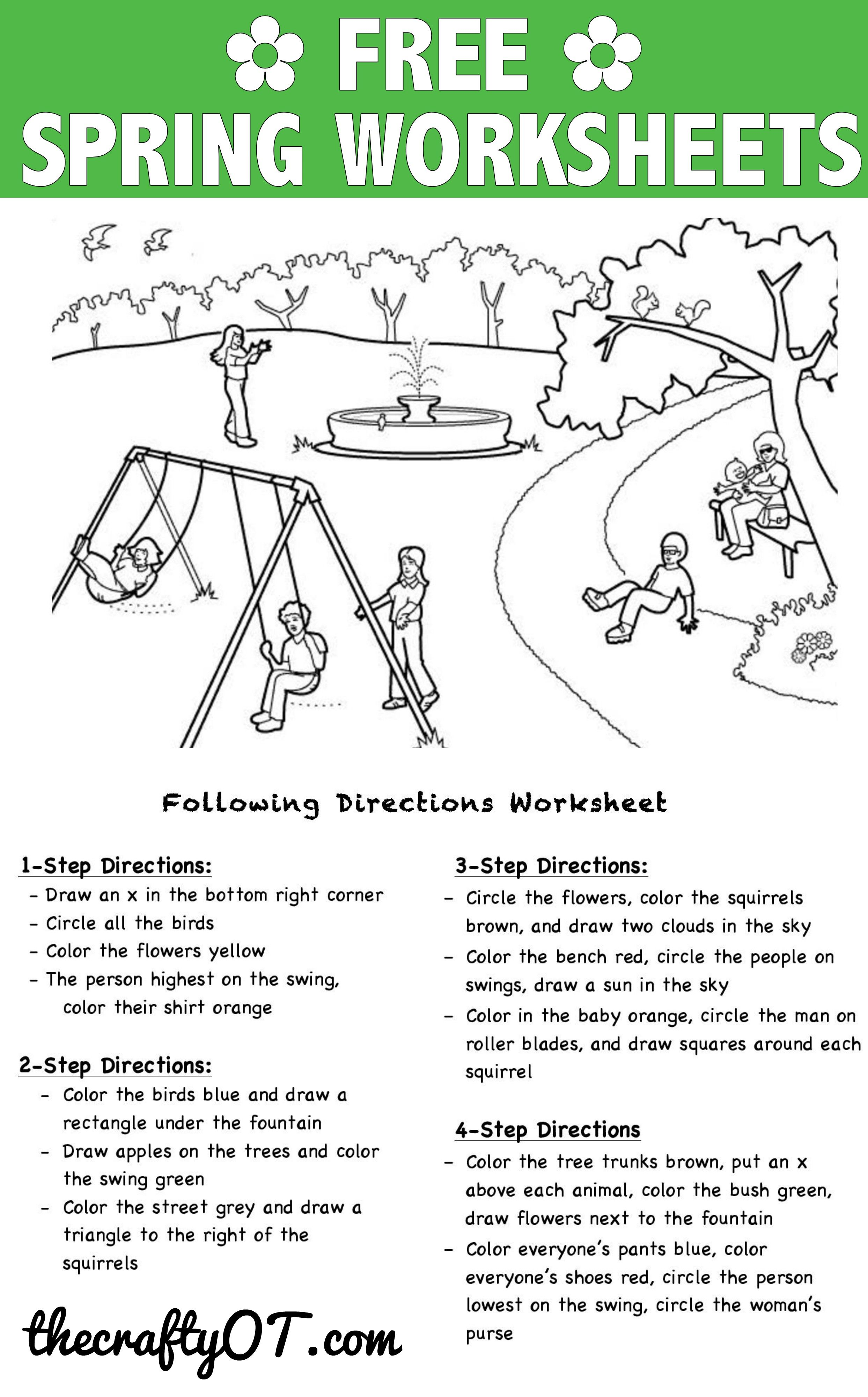 free spring worksheets teaching occupational therapy activities following directions. Black Bedroom Furniture Sets. Home Design Ideas