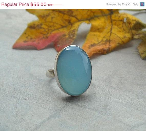SALE Light blue chalcedony ring - Oval ring - Gemstone ring - Bezel ring - Sterling silver ring - Cabochon - Birthday gift via Etsy