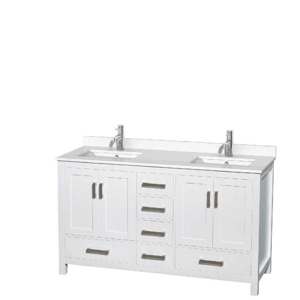60 Zoll Doppel Badezimmereitelkeit In Weiss Weisse Quarz Arbeitsplatte Unterbau Quadratische Waschbecken Kein Spiegel In 2020 Waschbecken Weisser Quarz Arbeitsplatte