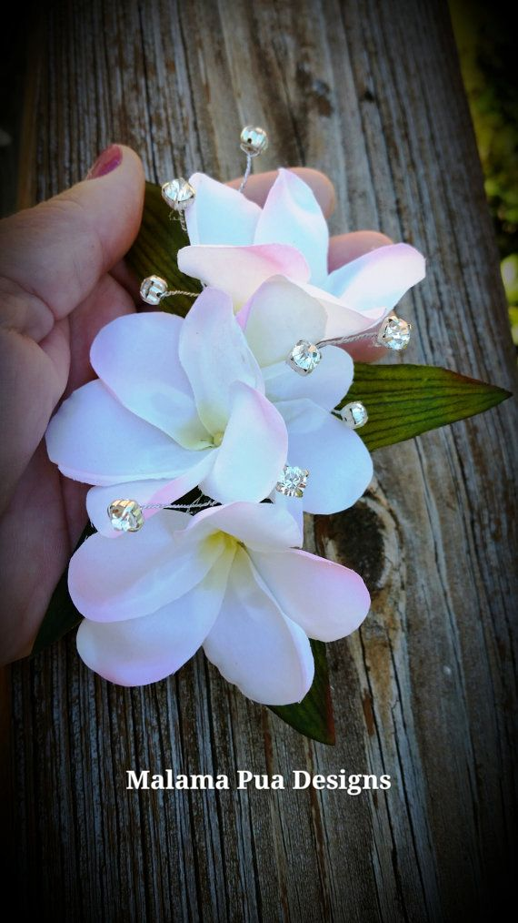 Plumeria Hair Clip Hawaiian Tropical Bridal Clip By Malamapua 29 99 Bridal Flower Clips Flower Clip Bridal Clip