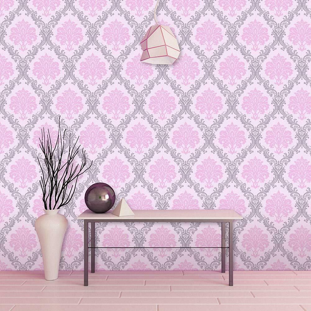 Peel And Stick Wallpaper Removable Damask Contact Paper Adhesive Shelf Liner 10m Bathtubs Ideas Pink Damask Wallpaper Pink Damask Peel And Stick Wallpaper