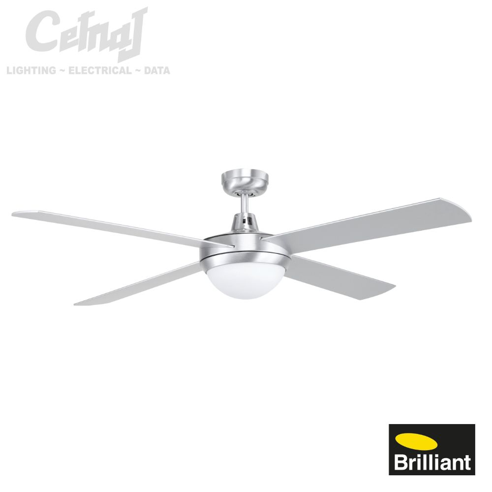 Tempest 52 ceiling fan with light brushed aluminium cetnaj tempest 52 ceiling fan with light brushed aluminium cetnaj aloadofball Gallery