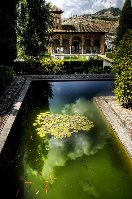 Partal gardens in alhambra palace granada by j a for Deco jardin granada