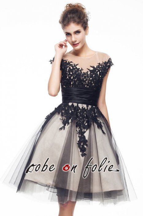 Robe cocktail noir tulle
