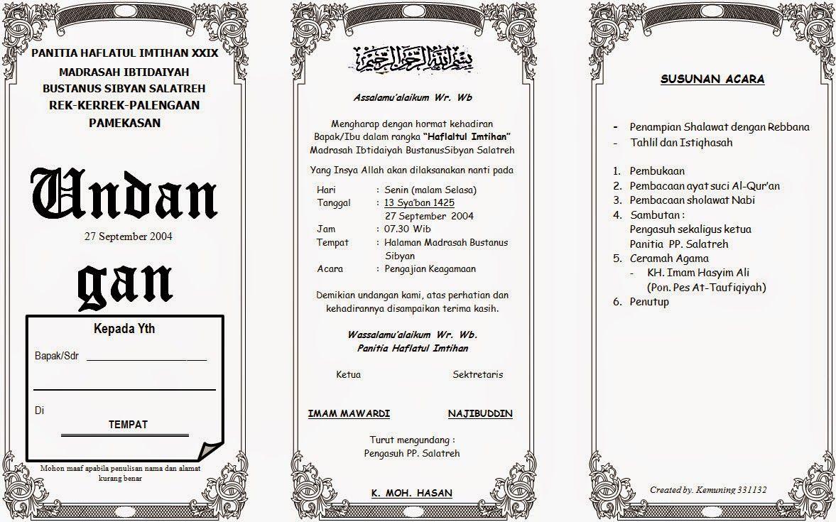 Contoh Undangan Pengajian Undangan Contoh Undangan Pernikahan