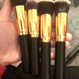 Generic4 Pieces Pro Foundation Makeup Tools Cosmetic Brush Blending Face Eye Brush Kit Sets,Gold