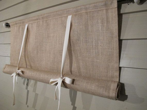 Natural Burlap 36 Inch Long Stage Coach Blind Swedish Roll Up Shade Tie Up Curtain Swag Balloon Curtains With Blinds Tie Up Curtains Swag Curtains