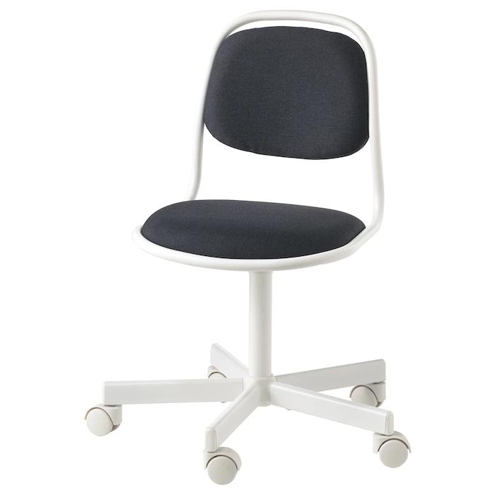 Orfjall Child S Desk Chair White Vissle Dark Gray Ikea In 2020 Desk Chair Grey Desk Chair Childrens Desk And Chair