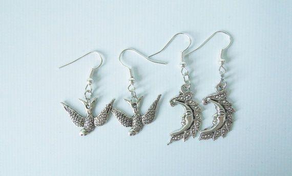 Sparrow or Moon Earrings