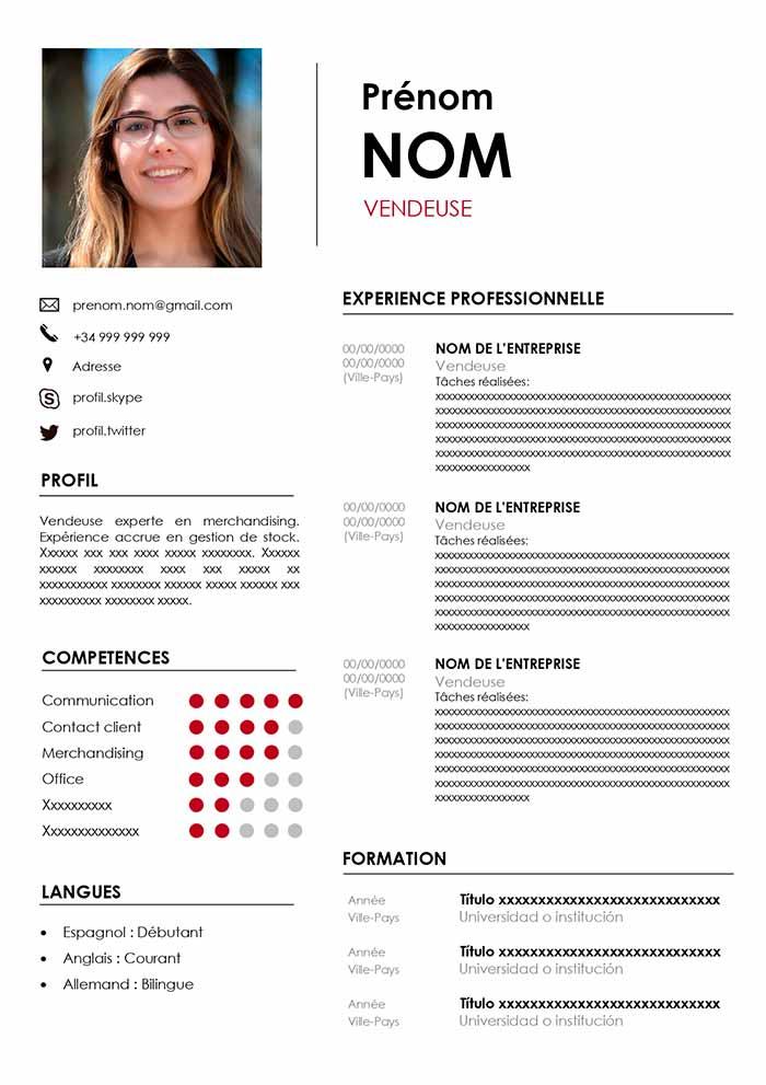 Exemple de CV pour Vendeur Word Gratuit Modèle de CV
