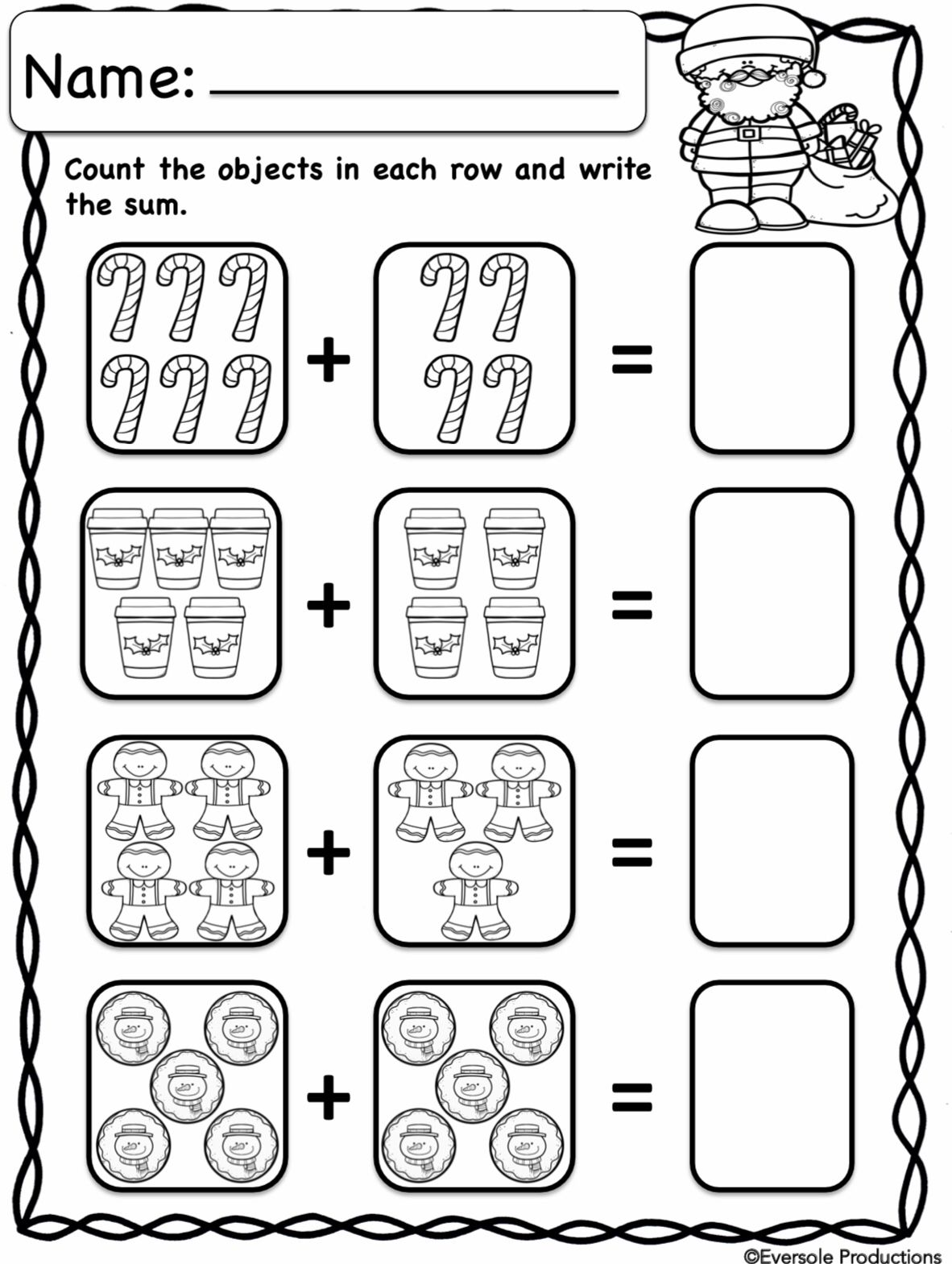 Christmas Math Adding And Subtracting Within 10 No Prep Addition And Subtraction Worksheets Math Addition Worksheets Kindergarten Addition Worksheets Addition objects worksheets kindergarten