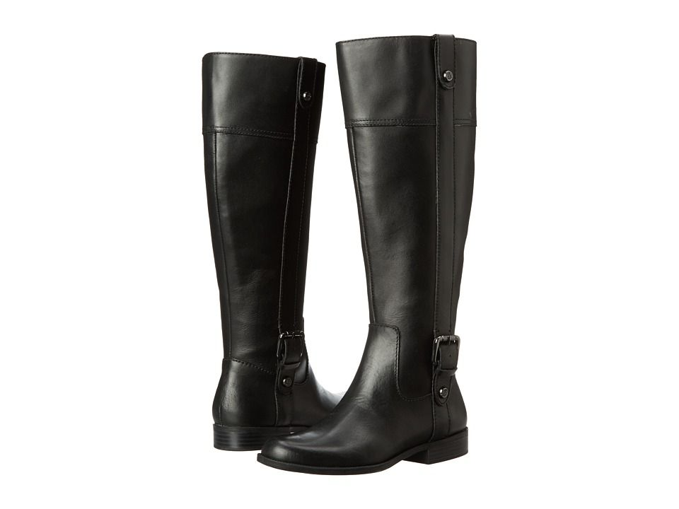 Anne Klein leather wide calf boots