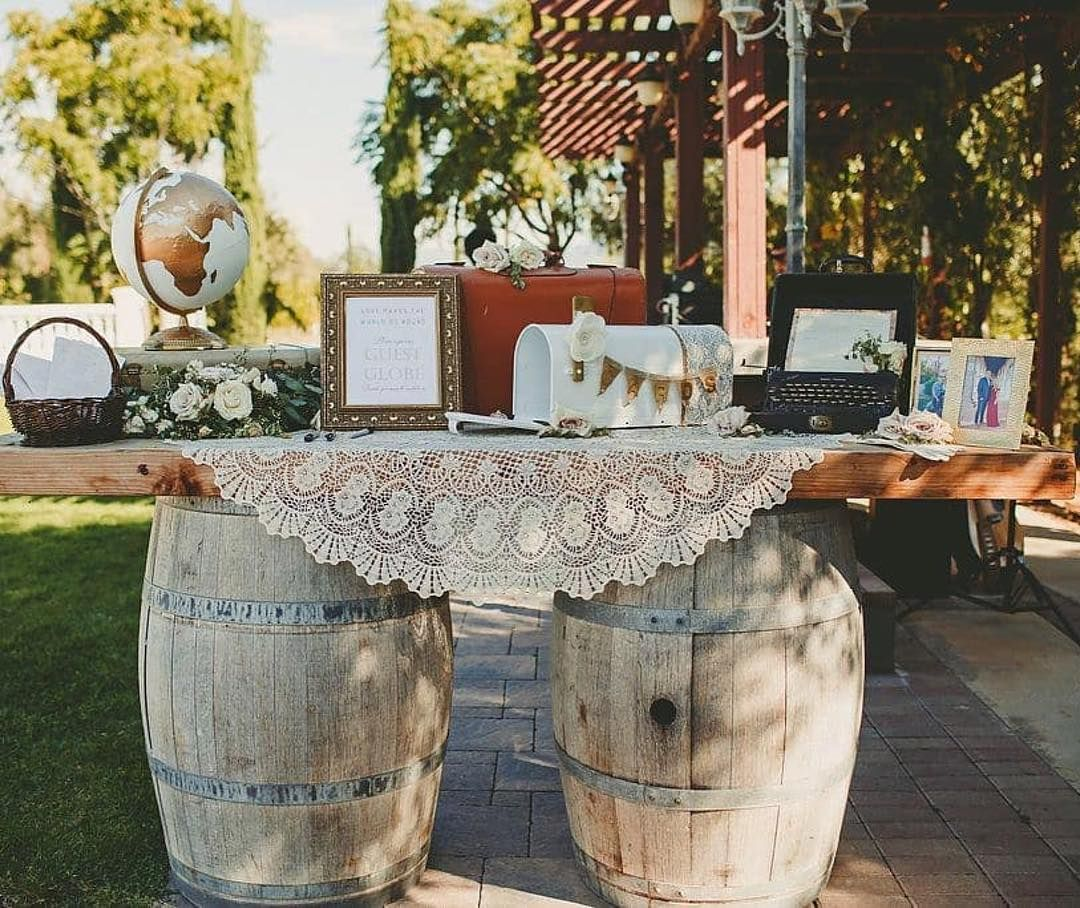 Rustic Wedding Table Decor Complete With A Lace Tablecloth