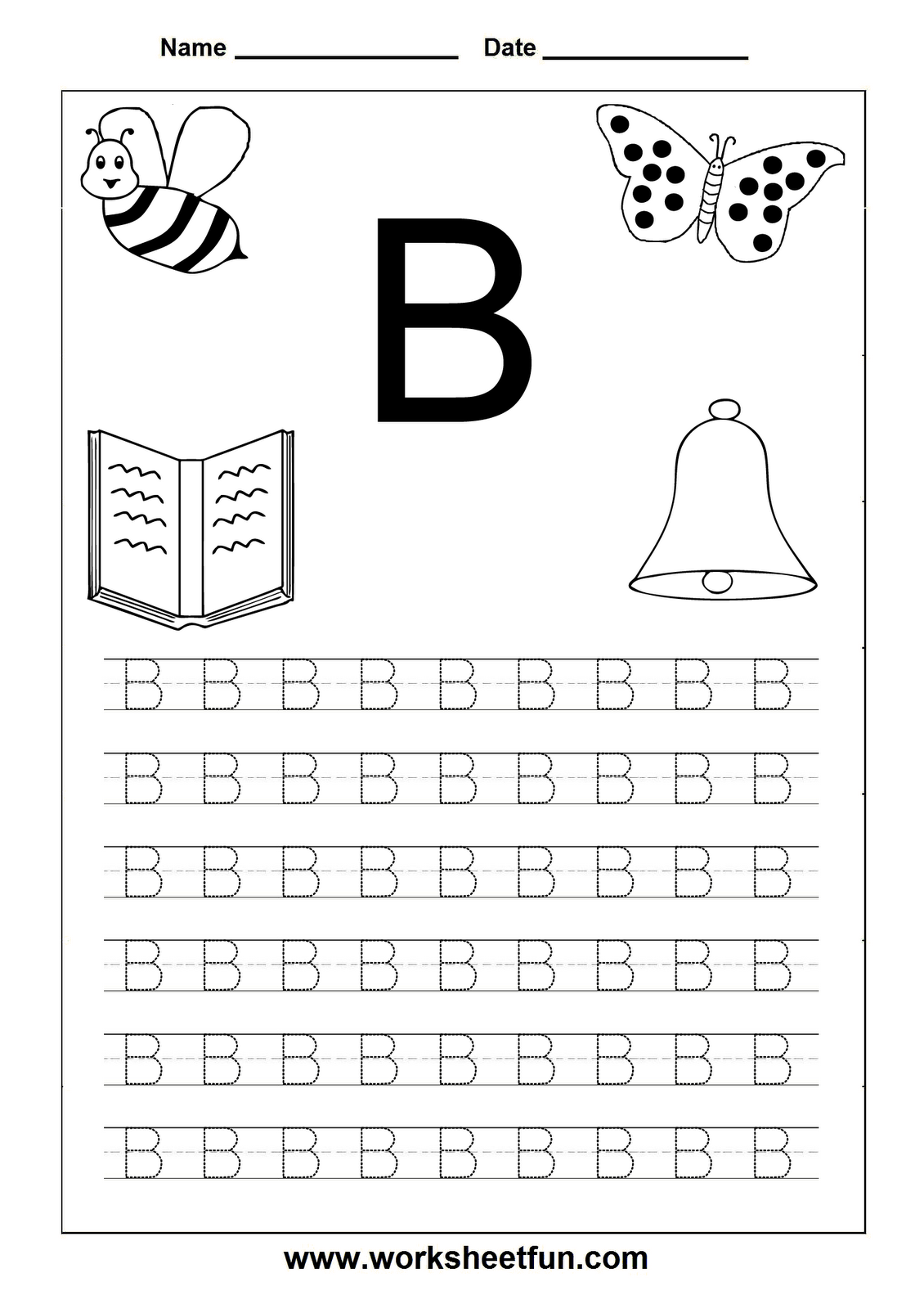 Letter Tracing Letter B Worksheet