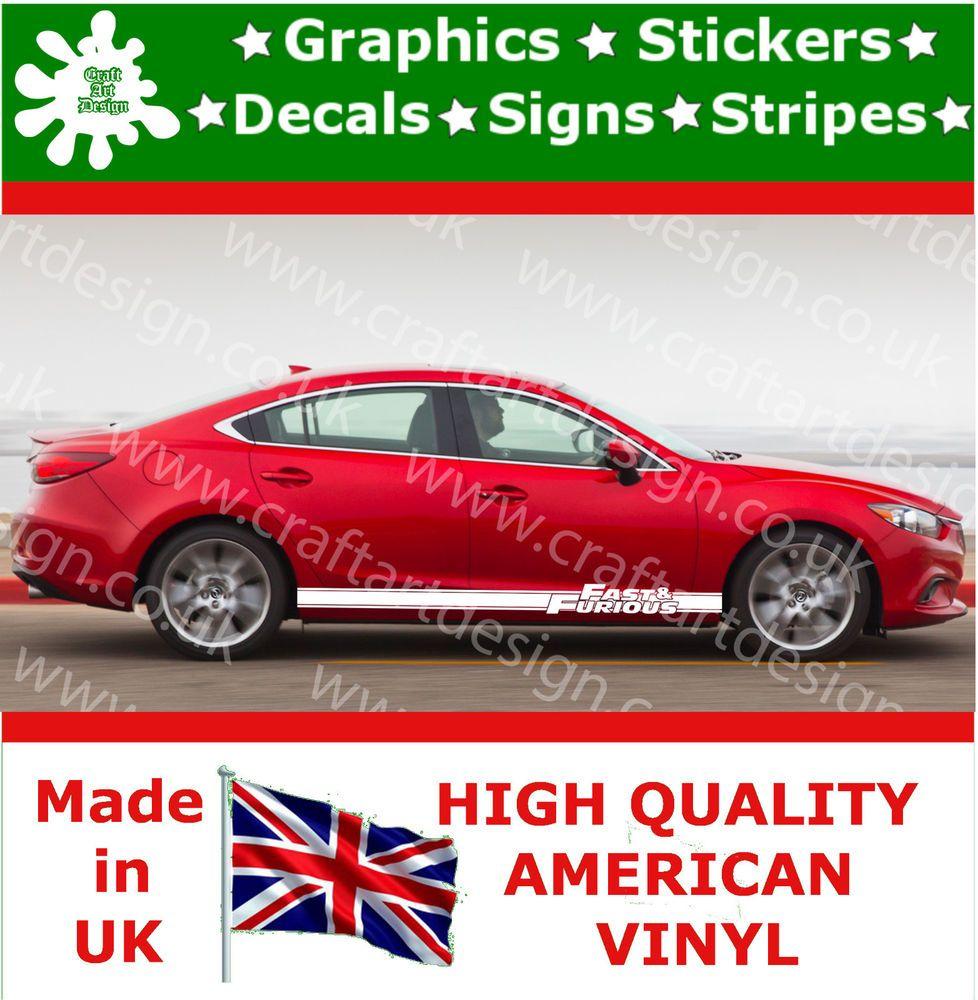 Car Mazda Racing Stripes Stickers Fast Furious Side Vinyl Race - Custom vinyl car stickers uk