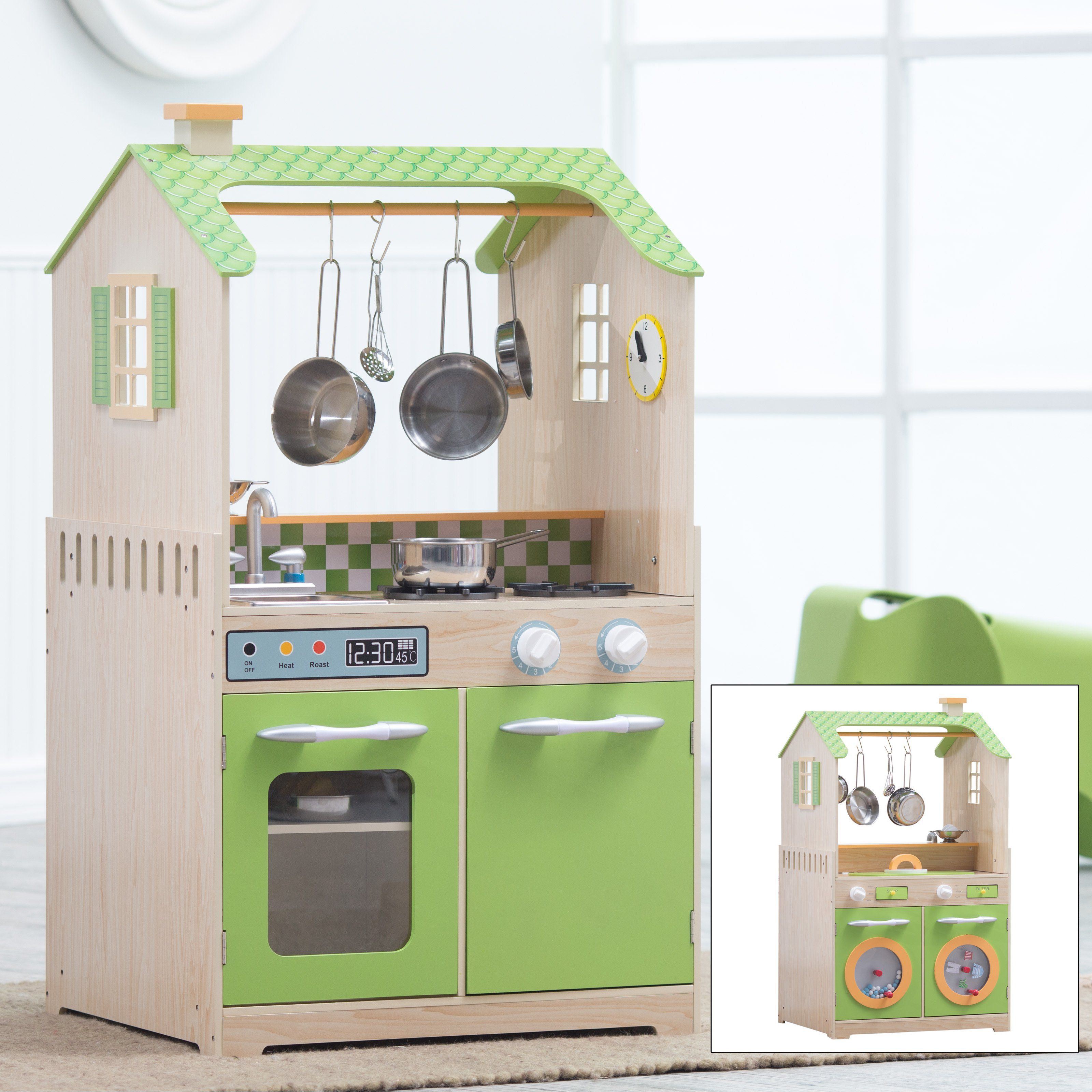 Kids wooden play kitchen  Teamson Kids Play Kitchen and Laundry Playset  from hayneedle