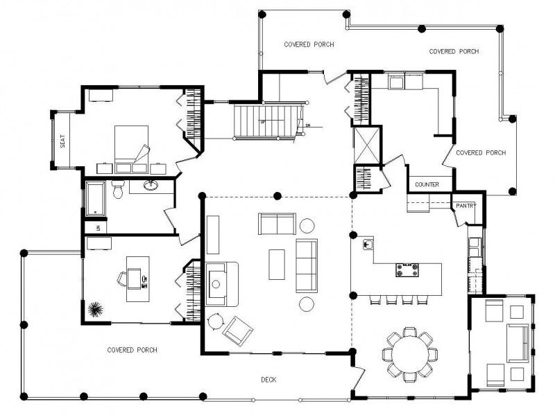Log Home Floor Plans - With A Wrap-Around Porch | Log Cabins - Oh ...