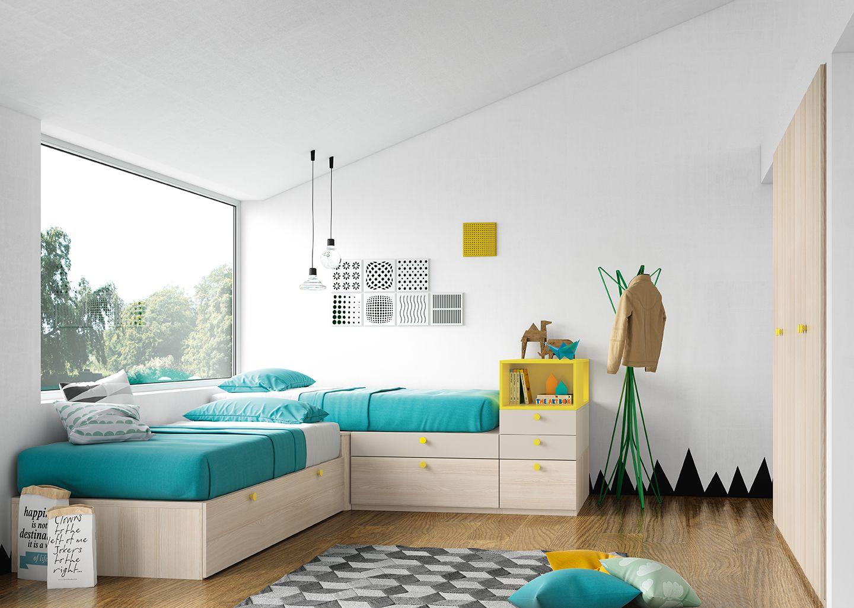 Dormitorio juvenil en l tres camas antaix origami - Habitaciones con tres camas ...
