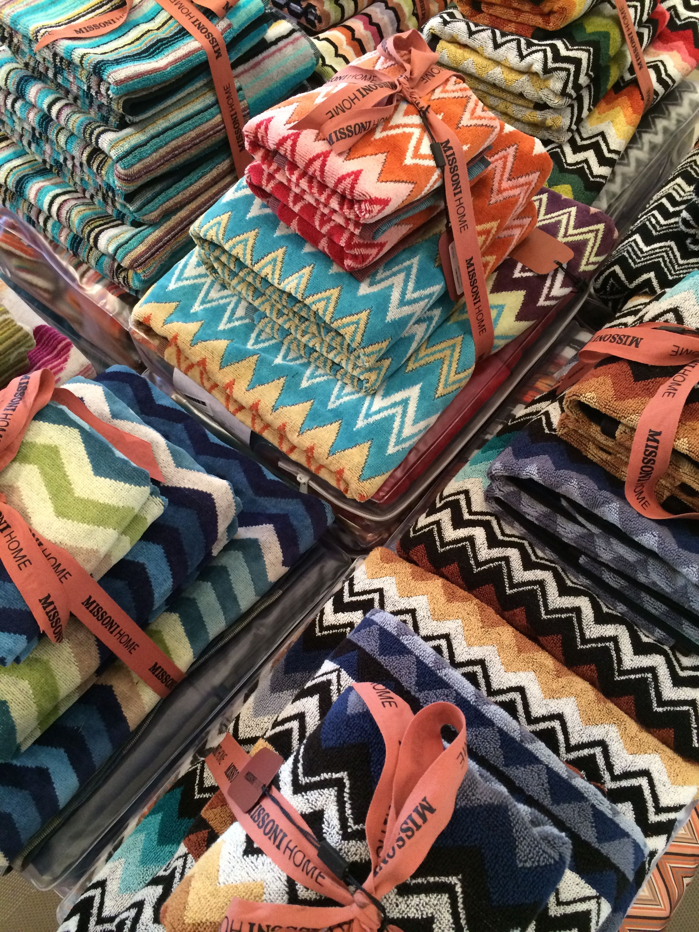 Wrap yourself in colorful zigzags! MissoniHome bath towels.