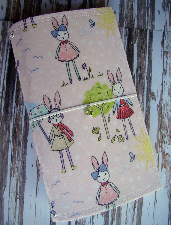 4 Seasons of Rabbits Fabric FauxDori Planner - Travelers Notebook