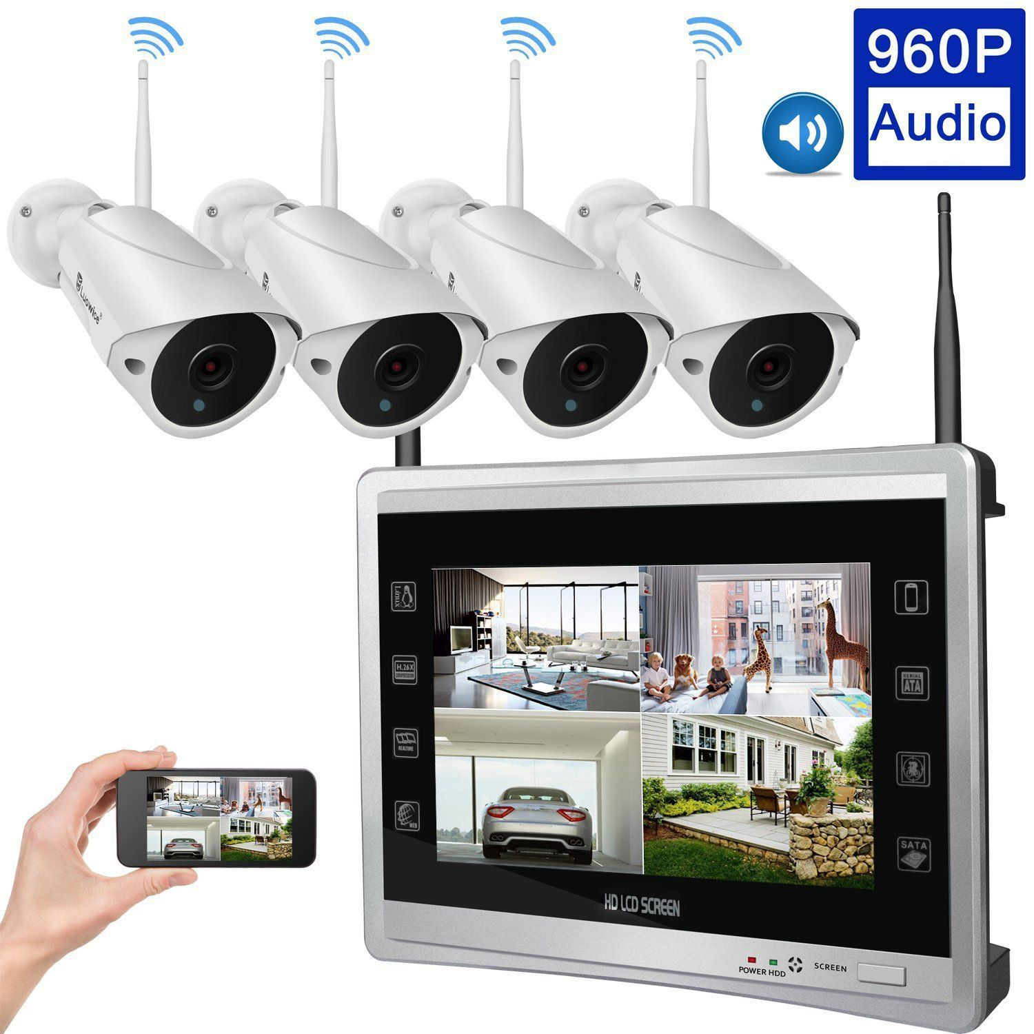 Audio Video Luowice 4ch Wireless Home Security Camera System With Built Wireless Security Camera System Home Security Camera Systems Home Security Systems