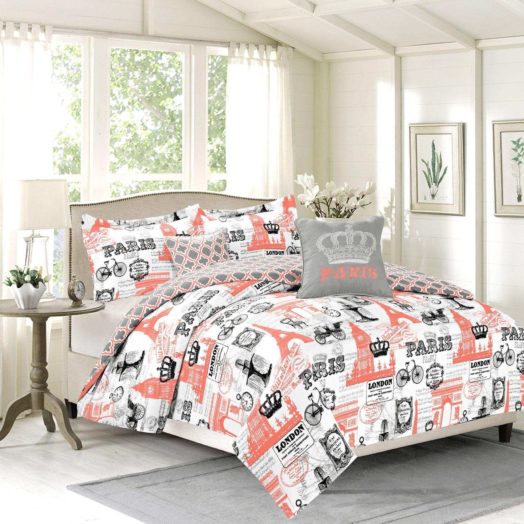Crest Home Bon Voyage Bedding Queen 5 Piece Comforter Bed Set, Paris Eiffel  Tower London