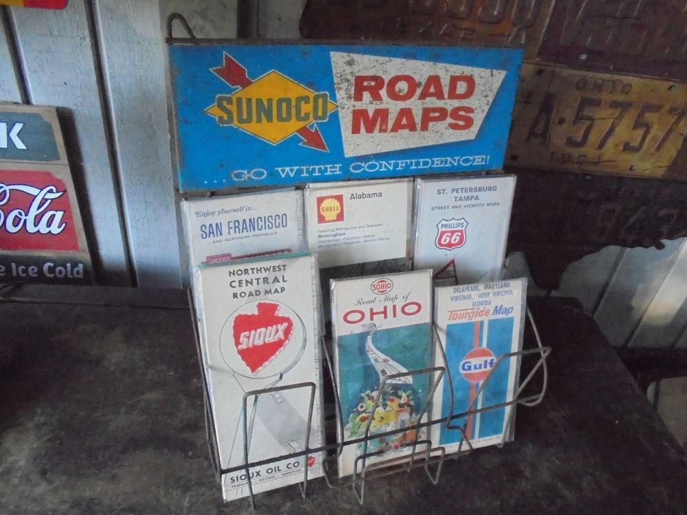 Roadmap Of The Us%0A Vintage Sunoco Gas Station Road Map Stand Metal Top Sign  u        Maps