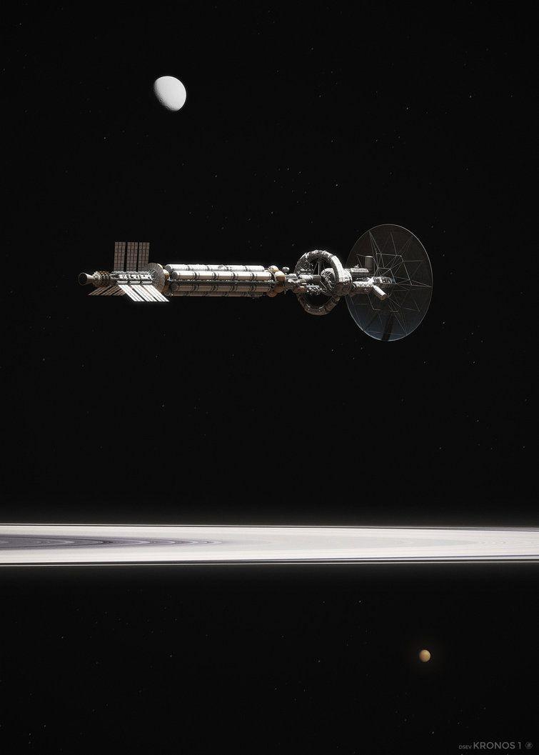 """Fictional space DSEV Kronos 1Deep Space Exploration Vehicle """"Kronos 1″ in Mars orbit, aboveValles Marineris. spacethatneverwas.tumblr.com/"""