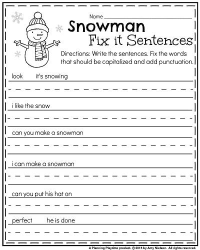 January kindergarten worksheets kindergarten activities january kindergarten punctuation worksheet snowman fix it sentences writing center kindergarten kindergarten handwriting ibookread Download