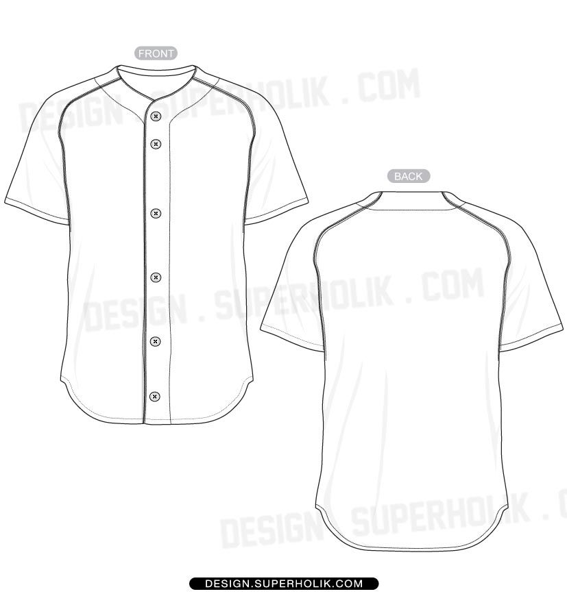 Baseball jersey shirt template set (With images