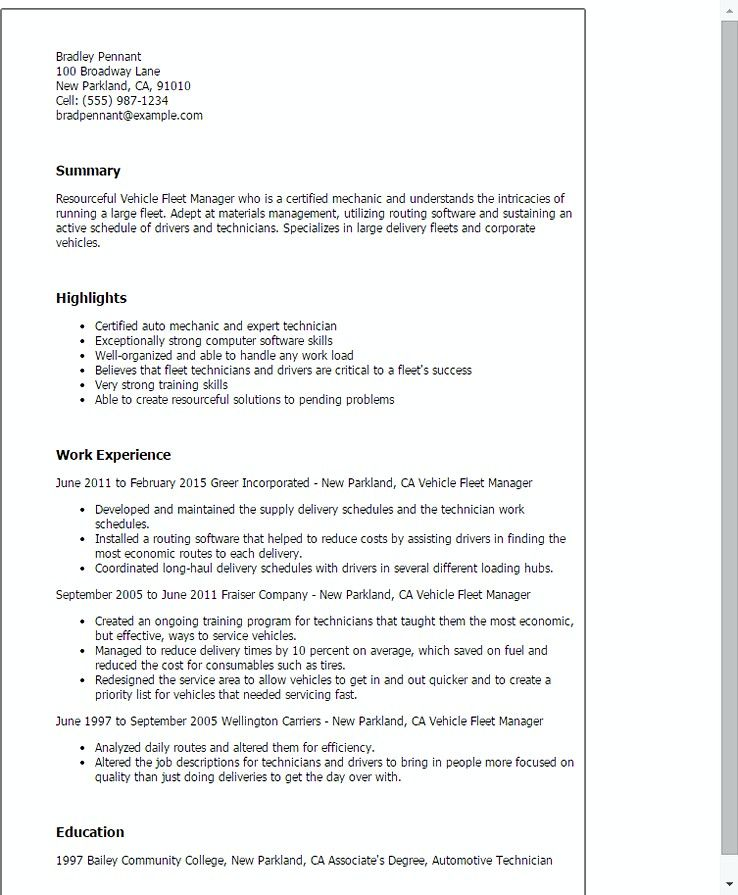 vehicle fleet manager , Fleet Manager Resume , Becoming a manager is