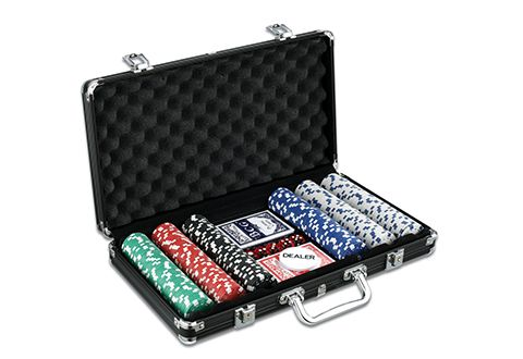 College poker chip set shooting craps with 3 dice
