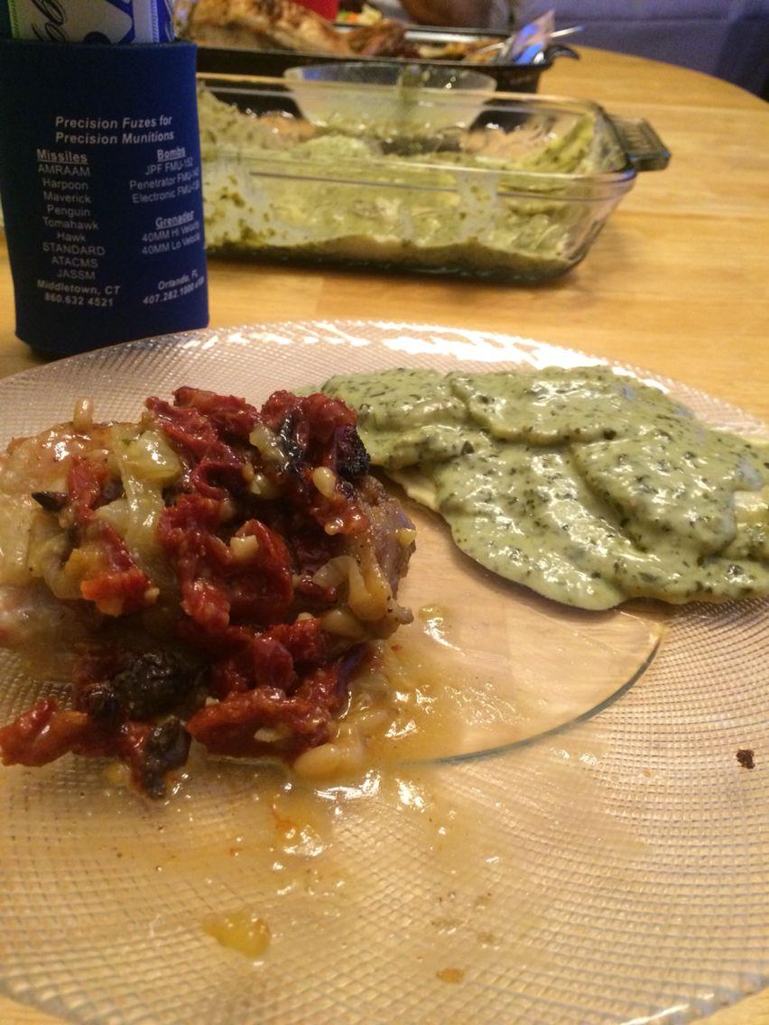 Creamy pesto over mushroom fire roasted raviolis with chicken with ...